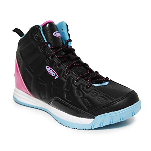 AND1 Kids Show Out Basketball Shoe, 4 M US Big Kid Black/Pink/Teal Miami Vice