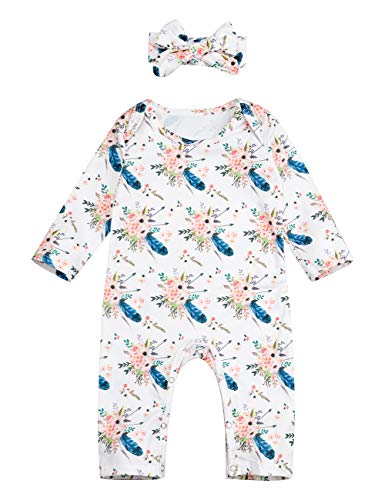 Newborn Baby Girls Romper Long Sleeve Feather Floral Jumpsuit Infant One-Piece Creepers Outfit with Headband(3-6M) White