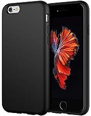 JETech Silikonowe etui kompatybilne z iPhone 6S 6 4,7 cala, jedwabiście miękkie w dotyku etui ochronne na całe ciało, odporne na wstrząsy etui z podszewką z mikrofibry, czarne