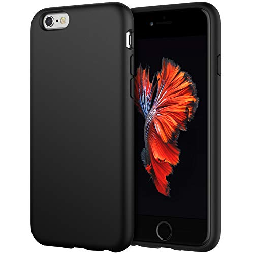 JETech Silicone Case Compatible with iPhone 6s/6 4.7 Inch, Silky-Soft Touch Full-Body Protective Case, Shockproof Cover with Microfiber Lining, Black