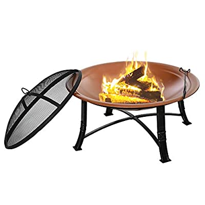 Outsunny Outdoor Patio Steel Fire Pit Bowl for Backyard, Camping, Picnic, Bonfire, Garden w/Spark Screen Cover, Log Grate, Poker, Bronze Colored by Sold by MHSTAR