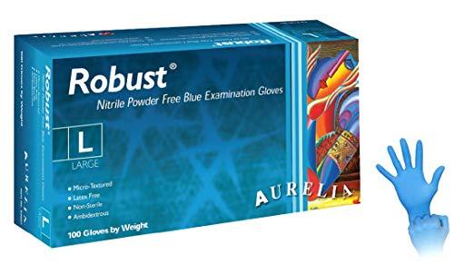 Aurelia Robust Guanti in Nitrile Monouso, 100 Pezzi Box Senza Polvere, Colore Blu, Misura L