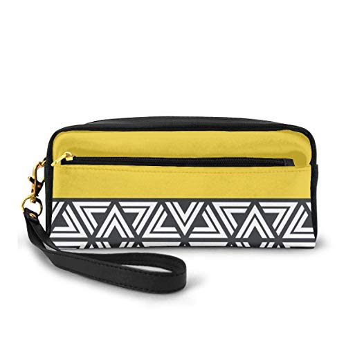 Yuanmeiju Black White and Yellow Geo Small Large Capacity Canvas Mäppchen Pen Bag Pouch Stationary Case Makeup Cosmetic Bag