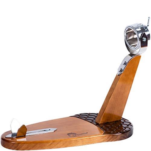 Schinkenhalter 3-in-1, mit anpassbarem Boden und Kopf – mit Kugelform, verstellbar in der Länge des Kopfes und drehbarem Kopf zum Schneiden von Pfote und Schinkenpalette