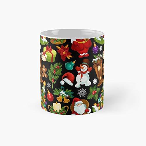 Xmas Seamless Pattern Classic - Taza de café con texto 'Best Gift Funny Coffee