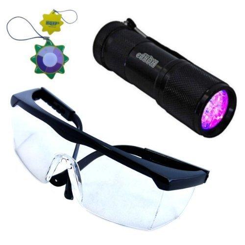HQRP Torcia professionale a 9 LED UV, 365 nM, con illuminazione a ultravioletti + HQRP Misuratore del sole