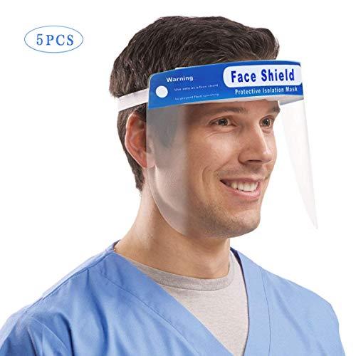 YDFN 5 Stück Gesichtsschutzschild Gesichtsschild Gesichtsschutzschirm Staubmaske Schutzhelm PVC Gesichtsschutz Helm Für Ärzte Krankenhaus Küche Outdoor Arbeit Freischneider