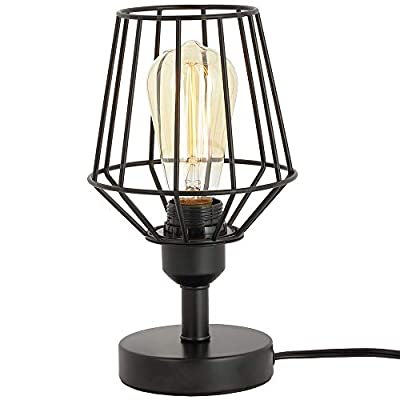 ZZ Joakoah Industrial Table Lamp, Metal Rustic Desk Lamp with Plug in Cord On/Off Switch, Bedside Nightstand Lamp, E26 Edison Reading Lamp Light Fixture for Office, Bedroom, Living Room