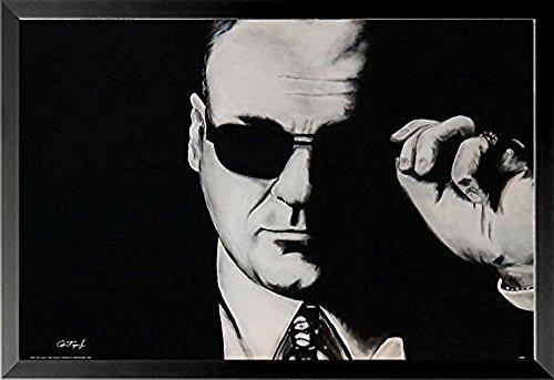 Buyartforless Framed Tony Soprano Sunglasses by Ed Capeau 24x16 Sopranos TV Show Art Print Poster Crime Family Mob Boss Organized Crime HBO Television Series