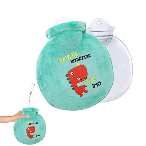 Borsa dell'acqua calda per bambini, con fodera, borsa dell'acqua calda, con copertura lavabile in maglia, il miglior Natale e l'inverno (dinosauro verde chiaro-rosso dinosauro)