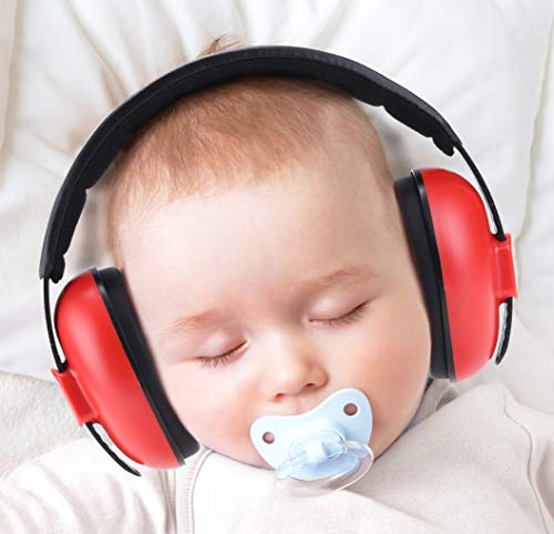 ear protectors for kids PORMUCAL Baby Ear Protection for Babies for 3 Months to 2+ Years Noise Reduction Ear Muffs for Infant and Toddlers. (Red1)