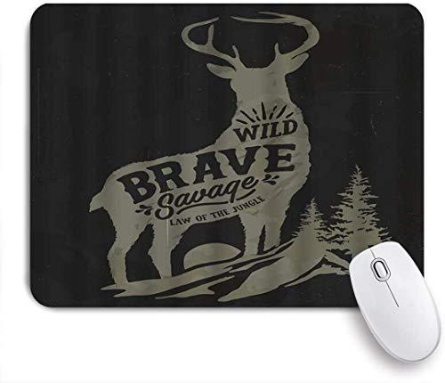 Benutzerdefiniertes Büro Mauspad,Hirsch Vintage Stil Geweih Abenteuer Akute Tier Weihnachtsbaum Wildlife,Anti-slip Rubber Base Gaming Mouse Pad Mat