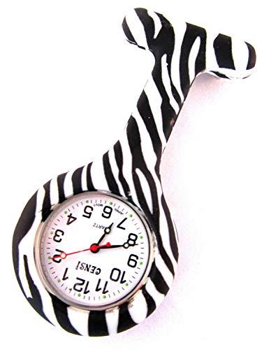 Túnica de Silicona de Enfermera Reloj Broche Fob en Print de Cebra con una batería Extra