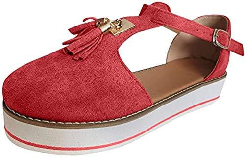 Sandalen met steunzool voor dames Dames Plateau & Sleehak Sandalen Leren sandaal Casual Zomer Espadrilles Sandalen met gesloten neus,Red,36