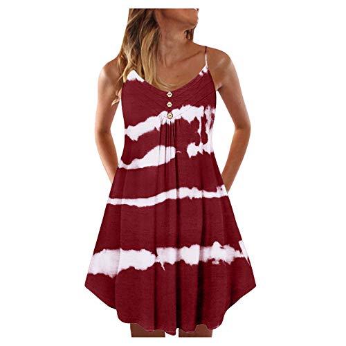 Women Double Breasted Plain Shift Dress Print Sleeveless Sundress Casual Dresses Loose Dress Comfortable Sexy Dresses Wine