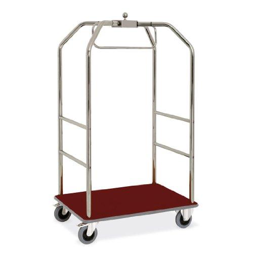 ETERNASOLID® Kleider- und Gepäckwagen verchromt, Teppich-Rot, Länge 108 cm