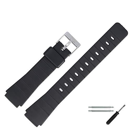 MARBURGER Uhrenarmband 16mm Kunststoff Schwarz - Werkzeug Montage Set 9601670400520