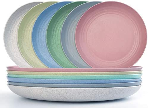 9 Inch Wheat Straw Dinner Plates Dishwasher Microwave Safe Reusable Unbreakable Lightweight product image