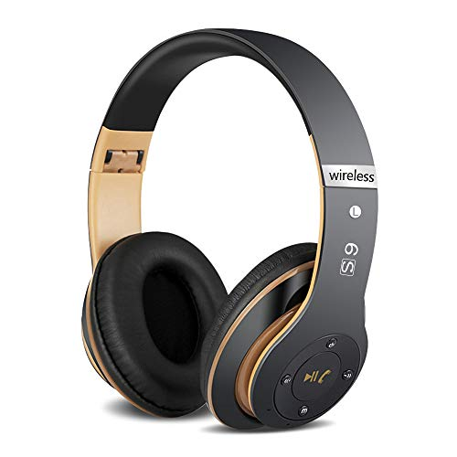 6S Over-ear Wireless Cuffie, Cuffie Wireless Bluetooth Cuffie Wireless Stereo Pieghevoli ad Alta Fedeltà, Microfono Incorporato, Micro SD/TF, FM (per iPhone/Samsung/iPad/PC) (Oro nero)