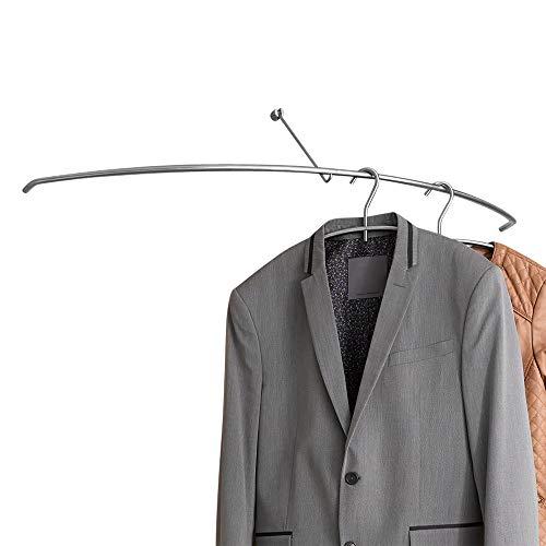 PHOS Edelstahl Design, G45, Wandgarderobe, hochwertig, geschliffen, verdeckte Montage, 18 cm x 90 cm x 24 cm, Flur, Bad, Diele oder Praxis Wartezimmer, Kleiderstange für Garderobenbügel