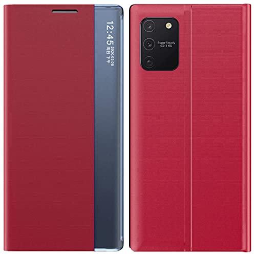 Mking Tech Funda de Cuero Inteligente de Alta Gama para Samsung Galaxy S10 lite/A91/M80S. 9 / S 20 FE/bit x3 NFC / A51 / Redmi Note 9 T/S 30 Flip/Suspender/Despertar/Estuche de Cuero Rojo