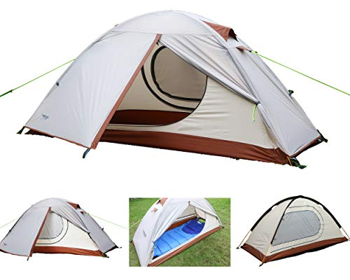 Luxe Tempo Single 1 Person Tent 4 Season 2 Doors with Footprint Freestanding for Camping High-end Silnylon Backpacking Tent 2 Vestibules