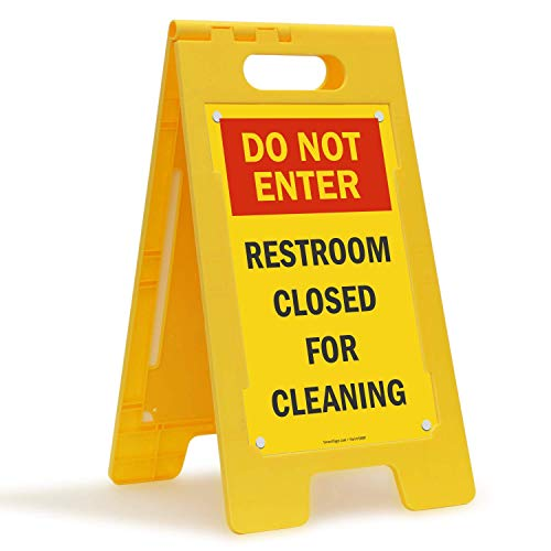 SmartSign Restroom Closed for Cleaning Sign, Bathroom Closed Sign, Folding Floor Sign, 25 x 12 Inches Plastic