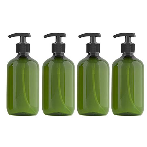 Kitchnexus 4 Stück 500ml Seifenspender Lotionspender Leer Flasche mit Schwarz Lotion Pumpe Spender Ideal für Küche Bad (Grün 300ML)