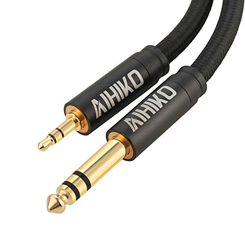 AIHIKO 3,5 mm bis 6,35 mm Audiokabel mit Zinklegierungsgehäuse und Goldsteckern Nylon Braid Stereo 1/4 Zoll bis 1/8 Zoll Klinkenkabel für Telefon, Laptop, Heimkino-Geräte und Verstärker - 2M Schwarz