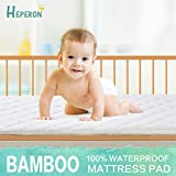 HEPERON Crib Size 100% Waterproof Mattress Protector - Breathable and Ultra-Soft Bamboo Fiber Mattress Pad Cover for Baby Hypoallergenic & Vinyl Free Noiseless (White, Crib)