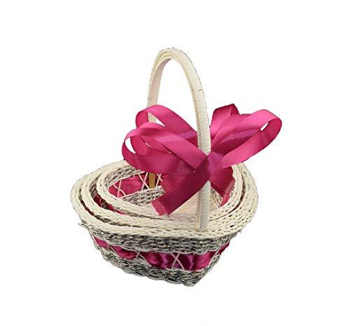 Les célébrations - 3 cestas de Corazones para Damas de Honor, pétalos de Flores, Regalo de Boda o Ceremonia