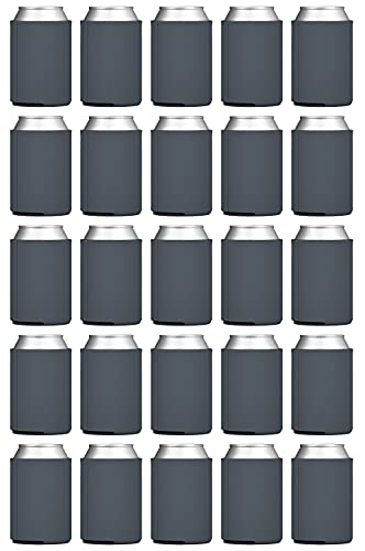 TahoeBay Blank Beer Can Coolers (25-Pack) Plain Bulk Collapsible Foam Soda Cover Coolies, Personalized Sublimation Sleeves for Weddings, Bachelorette Parties, HTV Projects (Charcoal)