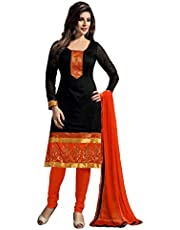 FENNY CREATIUON Women's PC Cotton Embroidered Semi Stitched Salwar suits