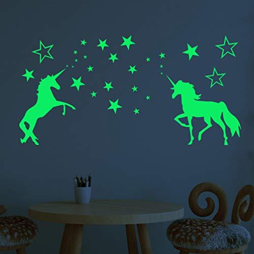 Vosarea Luminous Sticker Mural Licorne Lumineux Cheval Stickers Muraux Étoile Fluorescent Autocollant Sticker Mural pour Licorne Fête D'anniversaire Décoration Murale