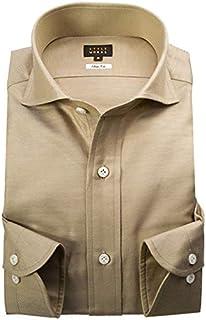 [スタイルワークス] ドレスシャツ ワイシャツ シャツ メンズ 国産 長袖 コットンリネン スリムフィット カッタウェイワイドカラー イエローカーキーツイル 1705