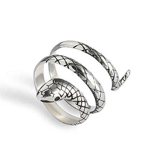 Fashion Vintage Women Snake Open Ring Silver Color Small Snake Winding Adjustable Tail Ring Jewelry