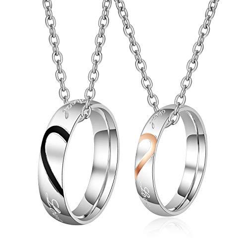 parejas anillos colgantes con cadenas, 50 cm y 60 cm, circonitas, anillos para parejas, collares con grabado, regalo de amor (TYP3)