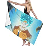 BAOYUAN0 Dragon Ball Z Goku Toalla de Playa para Hombres Toalla de Playa de Microfibra Toalla de baño para niños de Secado rápido para Damas 80 * 130cm Accesorios para Acampar Manta de Picnic