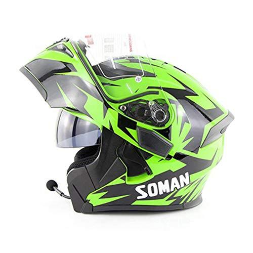 Unbekannt NF Motorrad Bluetooth Helm/Full Face Bluetooth Racing Motorradhelm Cromwell Helm Jet Doppelspiegel Modular Flip Helm,Green,XXL