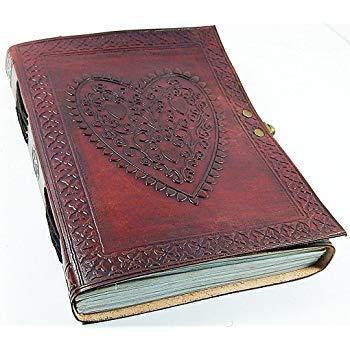 Dharma_Craft, diario di cuoio, L, vintage, taccuino con cuore goffrato (carta fatta a mano), rilegatura copta con serratura