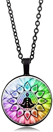 Ahuyongqing Co.,ltd Collar Collar Chakra Collar Buda Yoga Meditación Colgante Espiritual Símbolo Om Esperanza Collar de Cadena de joyería