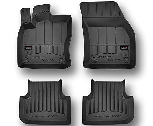 Pro-Line 3D407343 3D Gummimatten Auto Fußmatten TPE, Extra Hohe Rand, Komplettset 4-Teilig mit Befestigungssystem - Schwarz