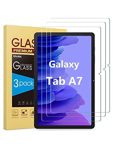 SPARIN 3 Pack Protector de Pantalla Compatible con Samsung Galaxy Tab A7 2020 10.4 Pulgadas, Vidrio Templado con Dureza 9H, Resistente a los arañazos