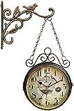 Reloj De Pared De Doble Cara con Soporte De Pared De Desplazamiento, Adorno De Pájaro De Hierro Forjado, Estilo De Estación De Tren, Reloj Colgante De Metal Vintage