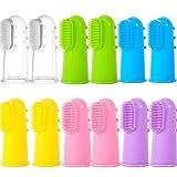 Berolle 12 piezas de 6 colores cepillos de dientes de silicona para mascotas cepillos de dientes para perros gatos