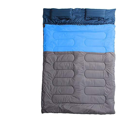 Sac De Couchage Adultes Sac de couchage double Camping, converti en 2 lits simples de grande taille pour le camping Voyage en plein air Escalade étanche Isolation Thermique Camping ( Color : Blue )