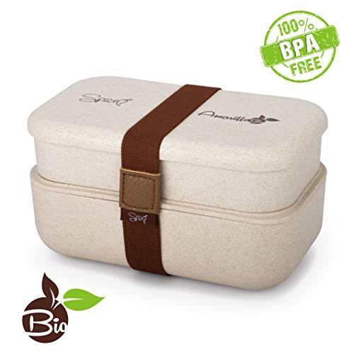 SPICE Amarillo Bio Duo Scaldavivande Bento Box schiscetta Portatile portavivande Termico Materiale Ecologico Naturale BPA Free capacità 1,2 Litri