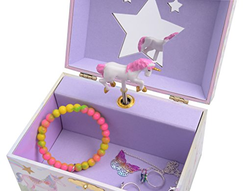Jewelkeeper Girl's Musical Jewelry Storage Box with Spinning Unicorn, Glitter Rainbow and Stars Design, The Unicorn Tune 4