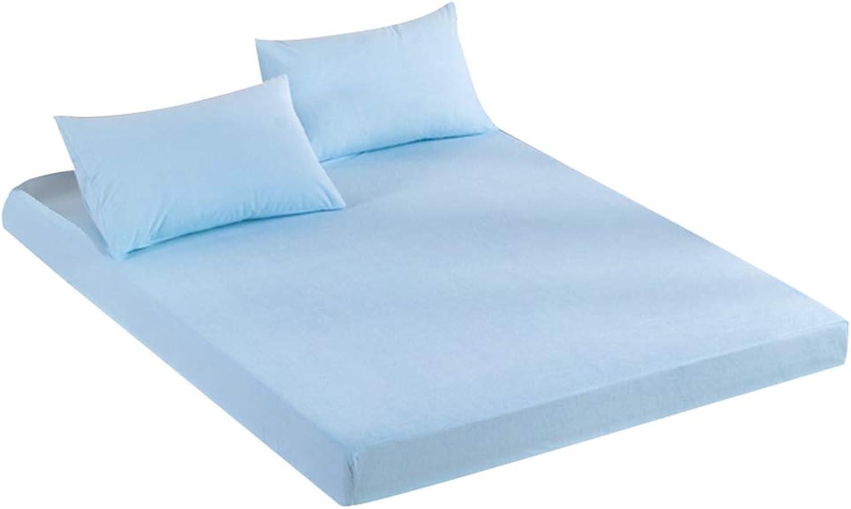ZHAOHUI Mattress Predector Cotton Waterproof Noiseless Breathable Antibacterial Non-Slip Dust-Proof, 4 colors, 4 Sizes (color   bluee, Size   180X200cm)