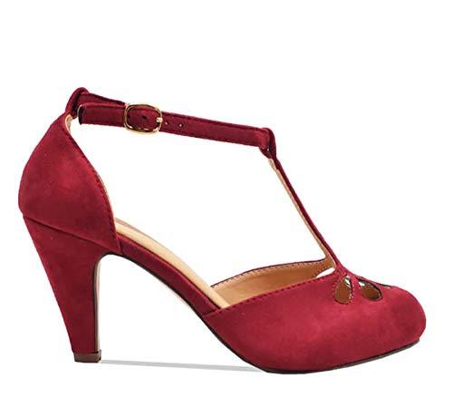 Chase & Chloe Womens Kimmy-36 Pumps Shoes,Burgundy Nub,8.5